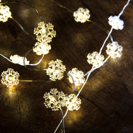 "Wire Lights - Snowflake 20L - 46"" Long, 20 Lights, 12"" Cord - Wire, Plastic, Cord"