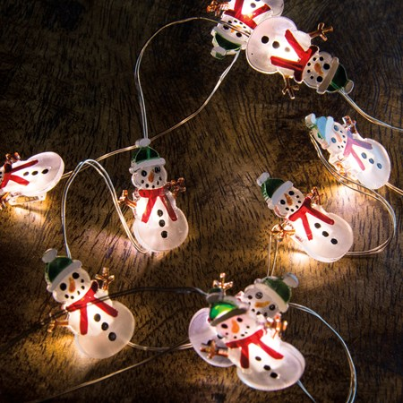 "Wire Lights - Snowman - 42"" Long, 20 Lights, 12"" Cord - Wire, Plastic, Cord"