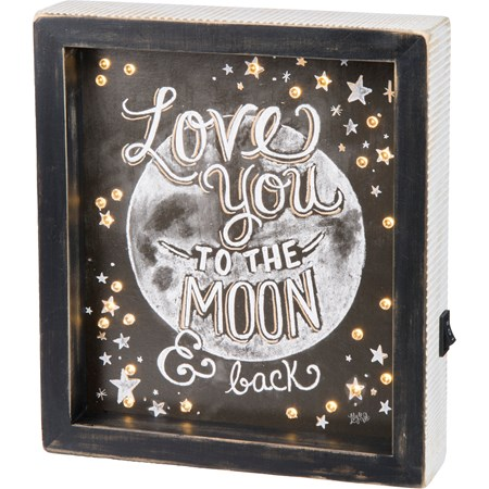 "LED Chalk Sign - Love You To The Moon And Back - 8"" x 9"" x 1.75"" - Wood, Paper, Lights"