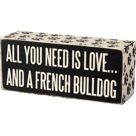 "Box Sign - French Bulldog - 6"" x 2.50"" x 1.75"" - Wood, Paper"