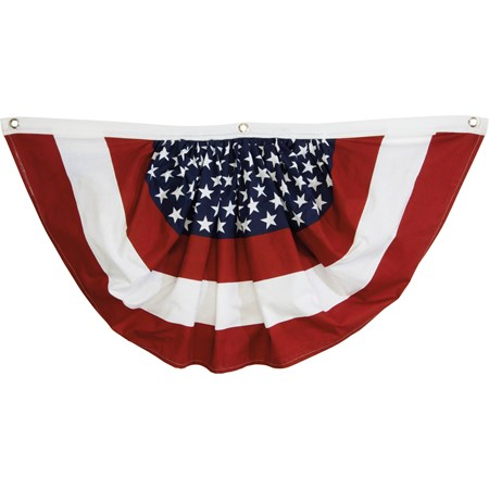 "Patriotic Bunting - 36"" x 19"" - Fabric, Metal"
