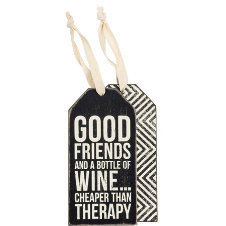 "Bottle Tag - Good Friends - 3"" x 6"" - Wood, Paper, Ribbon"