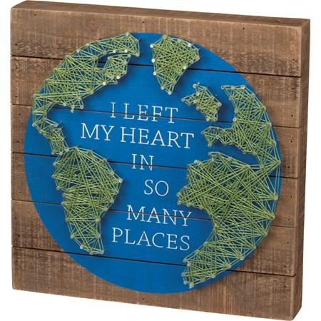 "String Art - I Left My heart In So Many Places - 12"" x 12"" x 1.75"" - Wood, Metal, String"