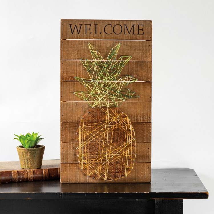 "String Art - Welcome - 10"" x 18"" x 1.75"" - Wood, Metal, String"