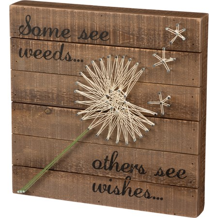 "String Art - Some See Weeds… Others See Wishes... - 12"" x 12"" x 1.75"" - Wood, Metal, String"