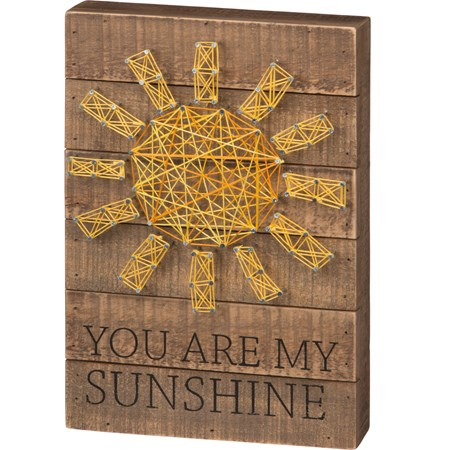 "String Art - You Are My Sunshine - 8"" x 12"" x 1.75"" - Wood, Metal, String"