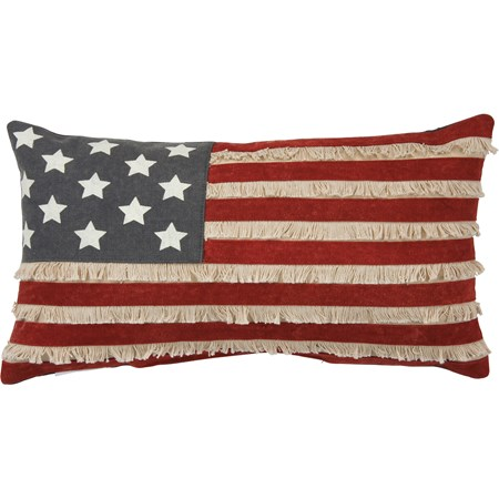 "Pillow - American Flag - 19"" x 10"" - Canvas, Zipper"