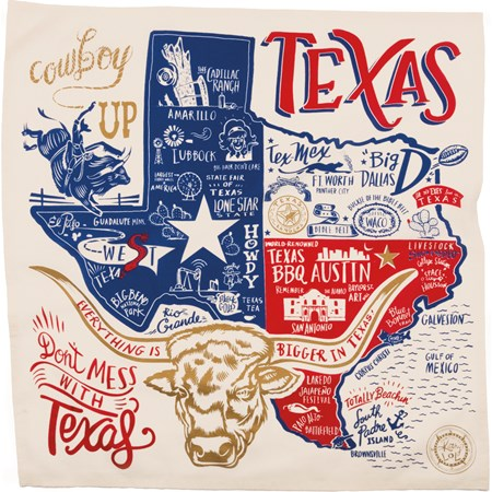 "Dish Towel - Texas - 28"" x 28"" - Cotton"