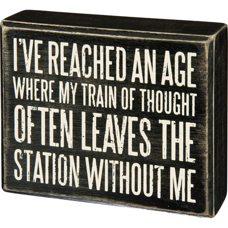 "Box Sign - Train of Thought Leaves The Station - 5"" x 4"" x 1.75"" - Wood"