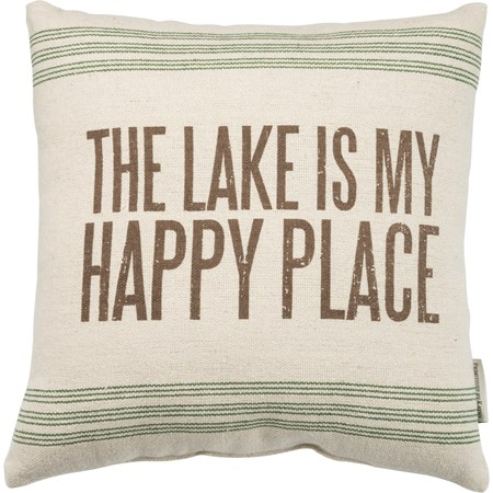 "Pillow - Lake Happy Place - 15"" x 15"" - Cotton, Polyester, Zipper"