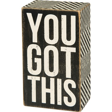 "Box Sign - You Got This - 3"" x 5"" x 1.75"" - Wood, Paper"
