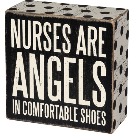 "Box Sign - Nurses Are Angels - 4"" x 4"" x 1.75"" - Wood, Paper"