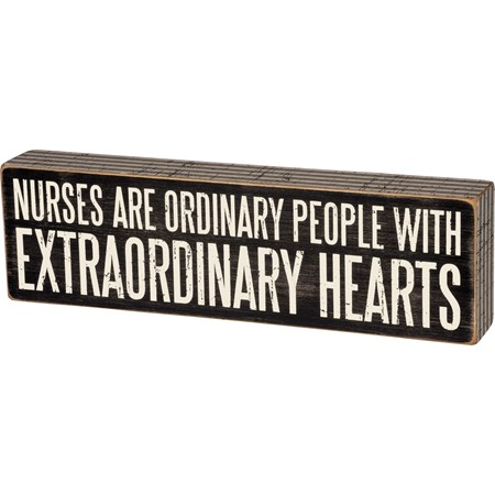 "Box Sign - Nurses Are  - 12"" x 3.50"" x 1.75"" - Wood, Paper"