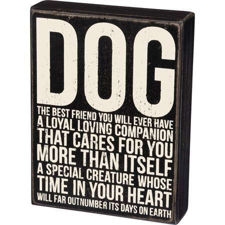 "Box Sign - Dog Best Friend - 6"" x 8"" x 1.75"" - Wood"