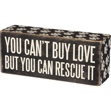 "Box Sign - Rescue It - 6"" x 2.50"" x 1.75"" - Wood, Paper"