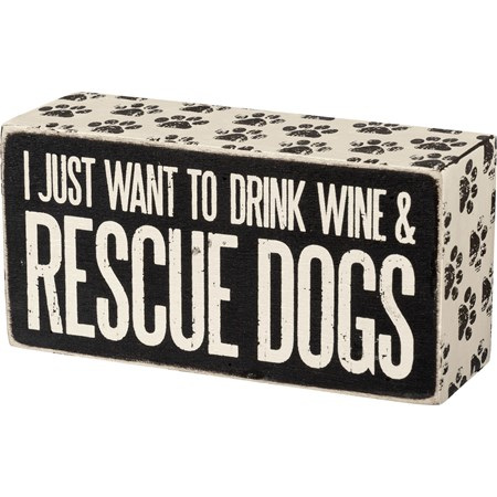 "Box Sign - Rescue Dogs - 5"" x 2.50"" x 1.75"" - Wood, Paper"