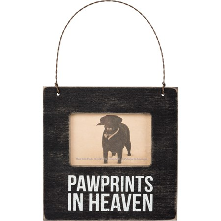 "Mini Frame - Pawprints - 4.50"" x 4.50"" x 0.25"", Fits 3"" x 2"" Photo - Wood, Plastic, Wire, Magnet"