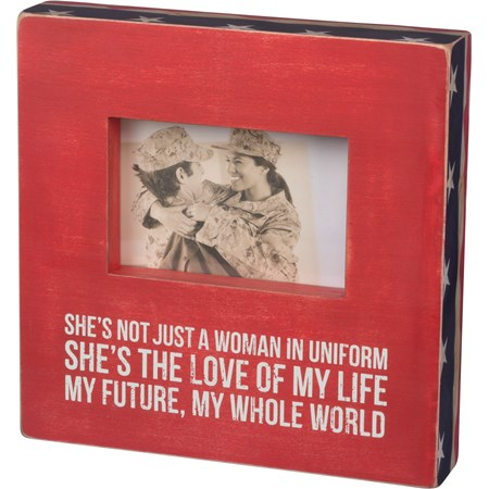"Box Frame - In Uniform - 10"" Square, Fits 6"" x 4"" Photo - Wood, Glass, Paper"