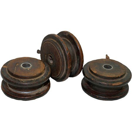 "Flat Wooden Spool - 4.25"" Diameter x 2"" - Wood, Metal"
