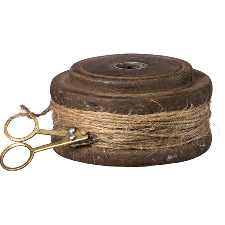"Flat Twine Spool - 4.25"" Diameter x 2"" - Wood, Twine, Metal"
