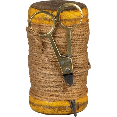 "Twine Spool - 2"" Diameter x 3-4"" - Wood, Twine, Metal"