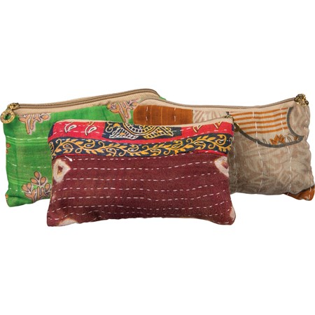 "Zipper Pouch - Kantha - 8"" x 5"" - Fabric, Metal"