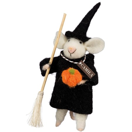 "Witchy Mouse - 6"" Tall - Felt, Fabric, Wood"