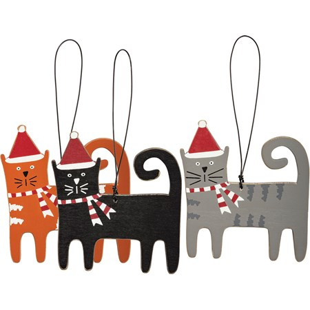 "Ornament Set - Christmas Cats - 3.25"" x 3.50"" - Wood, Wire"