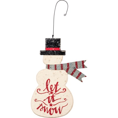 "Ornament - Let It Snow - 4.25"" x 6"" - Wood, Metal, Wire, Mica"