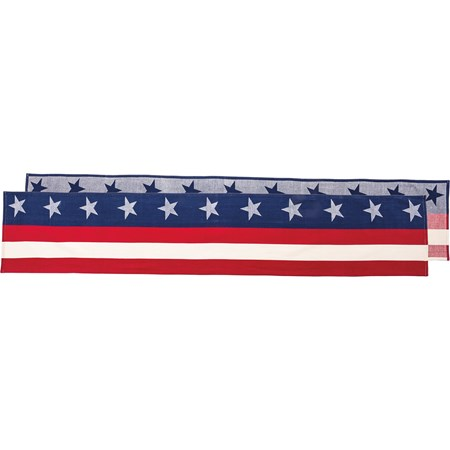 "Runner - Red White & Blue - 72"" x 13"" - Cotton"