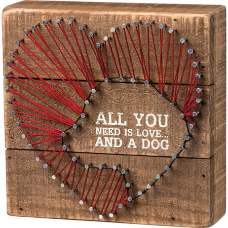 "String Art - All You Need Is Love And A Dog Heart - 6"" x 6"" x 1.75"" - Wood, Metal, String"