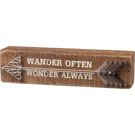 "String Art - Wander Often Wonder Always - 8"" x 2"" x 1.75"" - Wood, Metal, String"