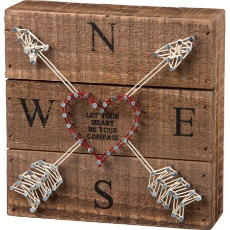 "String Art - Compass - 6"" x 6"" x 1.75"" - Wood, Metal, String"