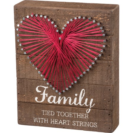 "String Art - Family Tied Together With Heart - 6"" x 7.50"" x 1.75"" - Wood, Metal, String"