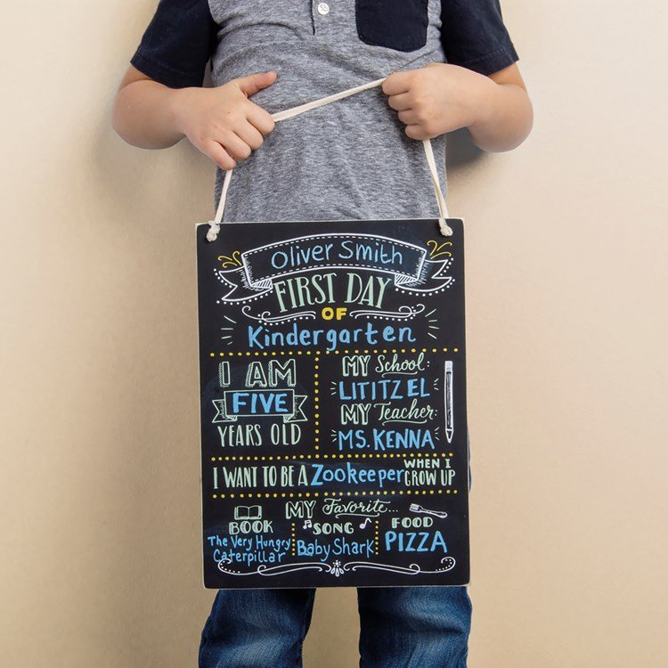"Chalk Sign - First Day Of School - 9.50"" x 13"" x 0.25"" - Wood, Cotton"