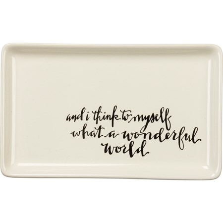 "Trinket Tray - Wonderful World - 6.75"" x 4.25"" x 0.75"" - Stoneware"