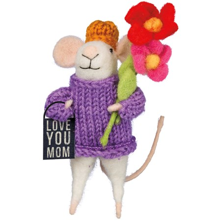 "Mouse - Love You Mom - 2"" x 5"" x 1.25"" - Felt, Fabric, Metal"