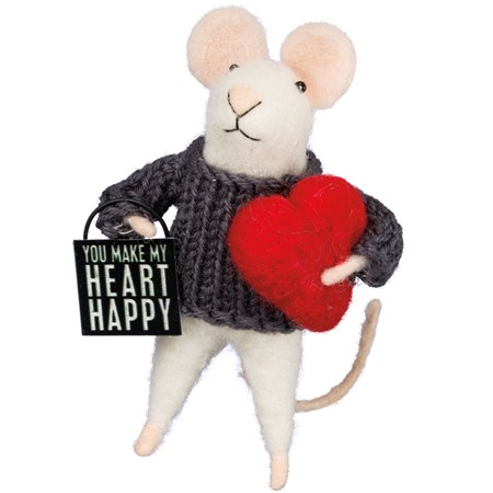 "Critter - Heart Happy Mouse - 1.75"" x 4.50"" x 1.75"" - Felt, Fabric, Metal"