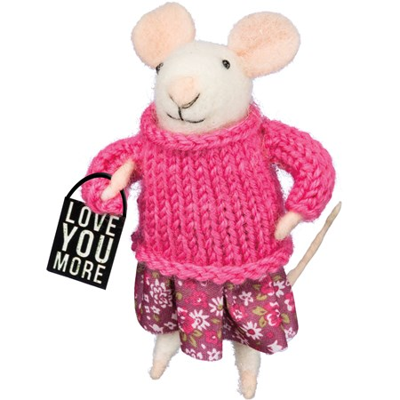 "Mouse - Love You More - 1.50"" x 4"" x 2"" - Felt, Fabric, Metal"