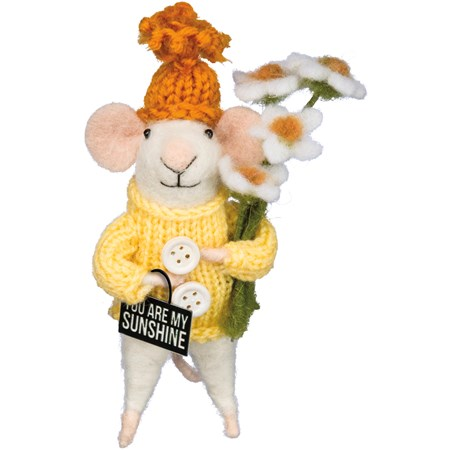 "Critter - My Sunshine Mouse - 2"" x 5.25"" x 1.50"" - Felt, Fabric, Metal, Plastic"