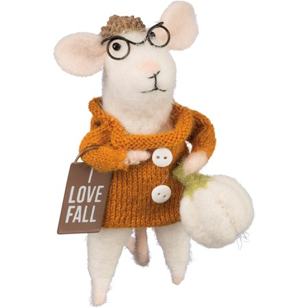 "Mouse - I Love Fall - 4.50"" Tall - Felt, Fabric, Metal, Wood, Wire"