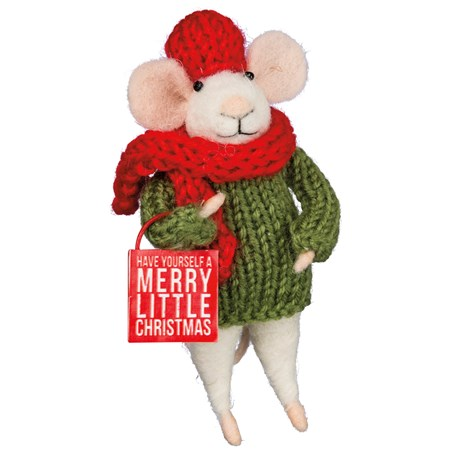 "Mouse - Have Yourself A Merry Little Christmas - 2.50"" x 4.50"" x 2.25"" - Felt, Fabric, Metal"