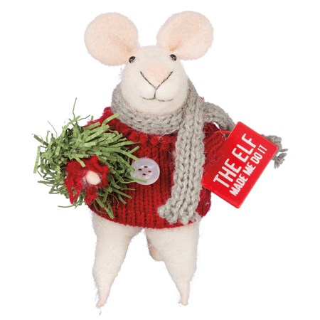 "Mouse - The Elf Made Me Do It - 3"" x 5"" x 2"" - Felt, Fabric, Metal, Bristle"
