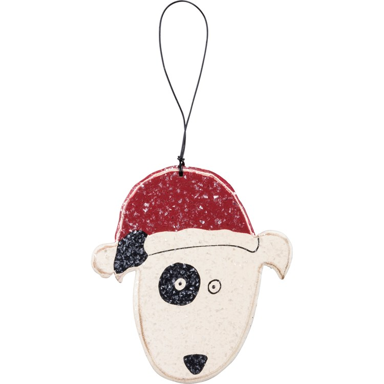 "Ornament - Dog - 3.75"" x 4"" - Wood, Wire, Mica"