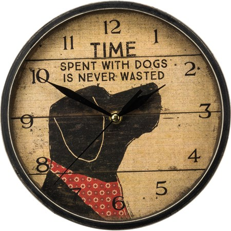 "Clock - Time Spent With Dogs Is Never Wasted - 9.50"" Diameter x 1.75"" - Wood, Paper, Glass, Metal"