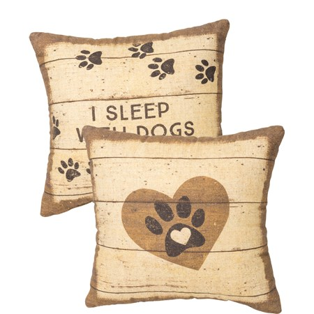 "Pillow - I Sleep With Dogs - 12"" x 12"" - Cotton, Linen"