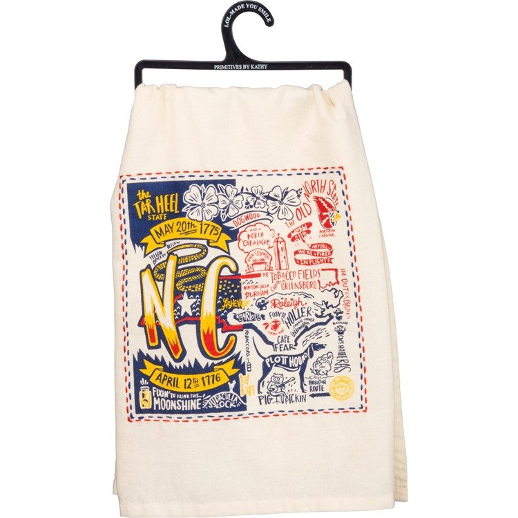 "Dish Towel - North Carolina - 28"" x 28"" - Cotton"