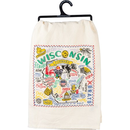"Dish Towel - Wisconsin - 28"" x 28"" - Cotton"