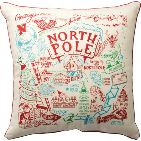 "Pillow - North Pole - 20"" x 20"" - Cotton, Polyester, Zipper"