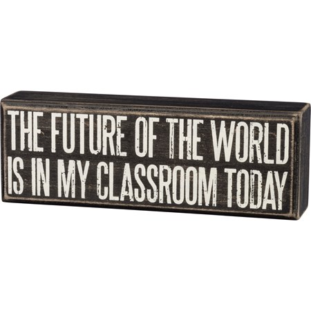"Box Sign - Future Of The World - 8"" x 2.75"" x 1.75"" - Wood"